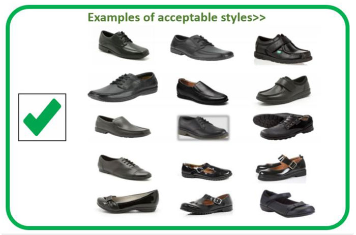 Acceptable shoes as part of the school uniform as SBL Academy